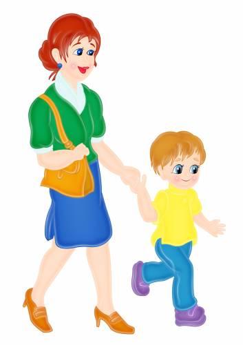 Мама с ребенком, ведет в детский сад - Люди - Отрисовки - Оформление детского сада
